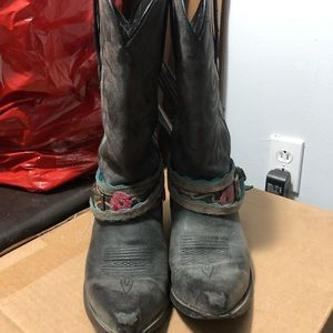 Durango size 9 cowgirl boots faux leather worn